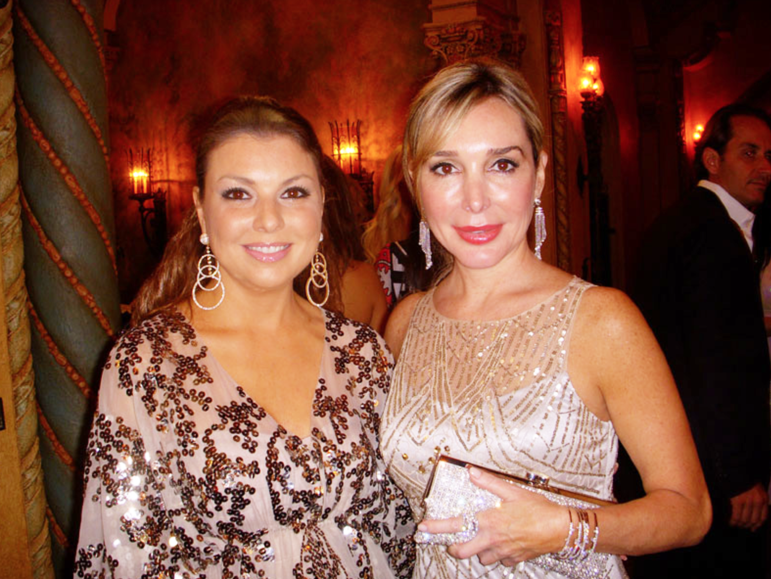 Marysol Patton wearing 'Deco Diamonds' with Christina Termine, owner/designer of 'Diamonds On The Key' wearing 'Circles' diamond earrings.