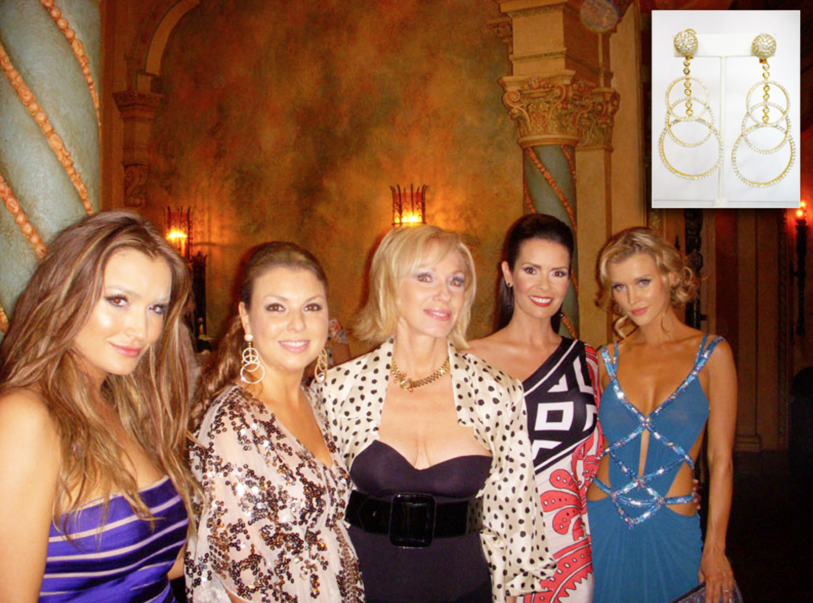 Christina Termine, owner of 'Diamonds On The Key' wearing 'Circles' diamond earrings at the Miami Film Festival Premiere with cast members from the RHOM.