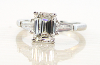 Ring 2 - emerald cut flanked by matching tapered baguettes